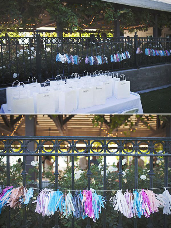 goody bags and tissue paper banner