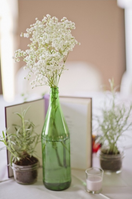 babys breath and herb centerpiece