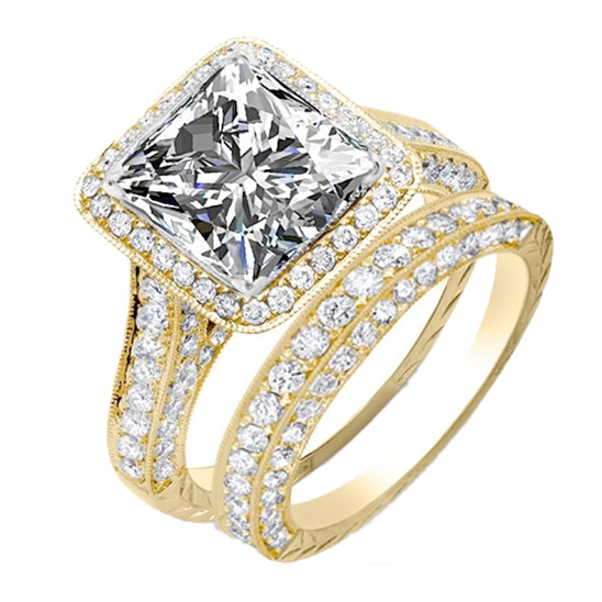 Natural Princess Halo Pave Diamond Engagement Ring