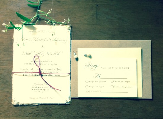 Ivory finish wedding invitation with natural burlap