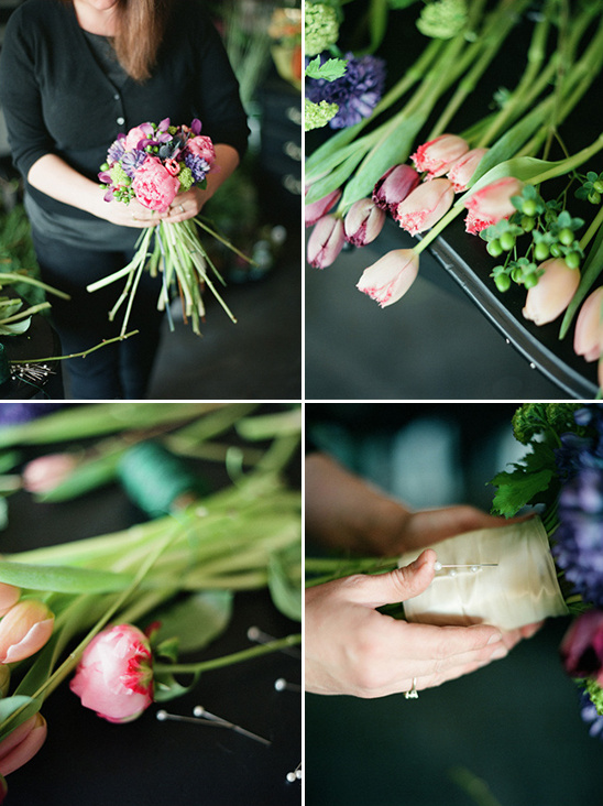 place florals wrap and pin together