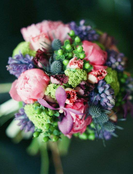 purple bouquet full of funky texture