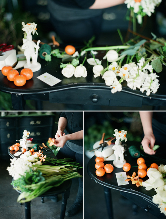 clementines and white fresh flowers