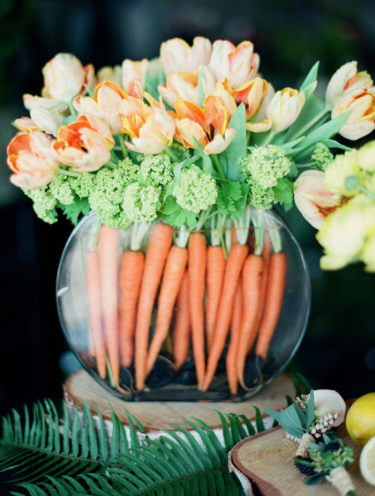 orange tulips and carrot arrangement