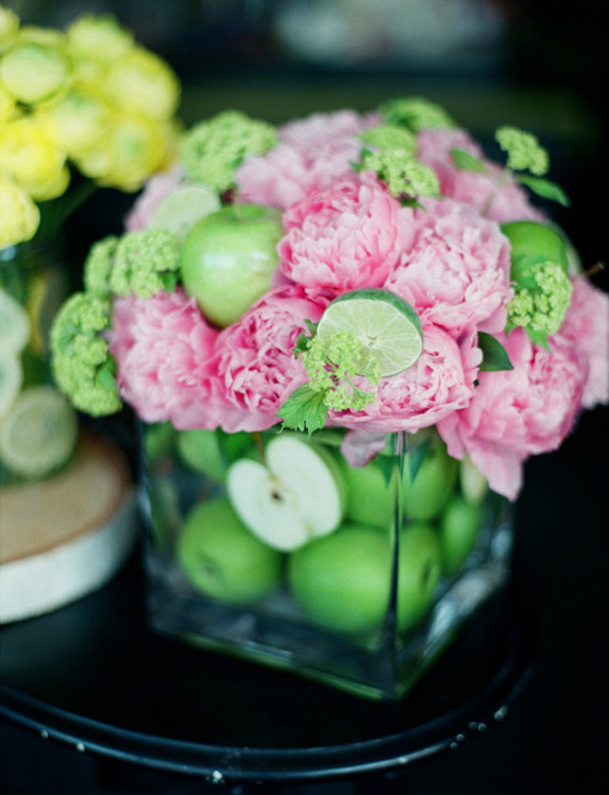 apple lime and peony centerpiece