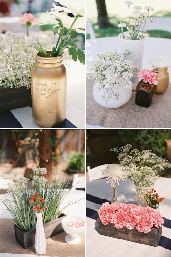 gold mason jars and milk glass vases make for some fabulously shabby chic centerpieces