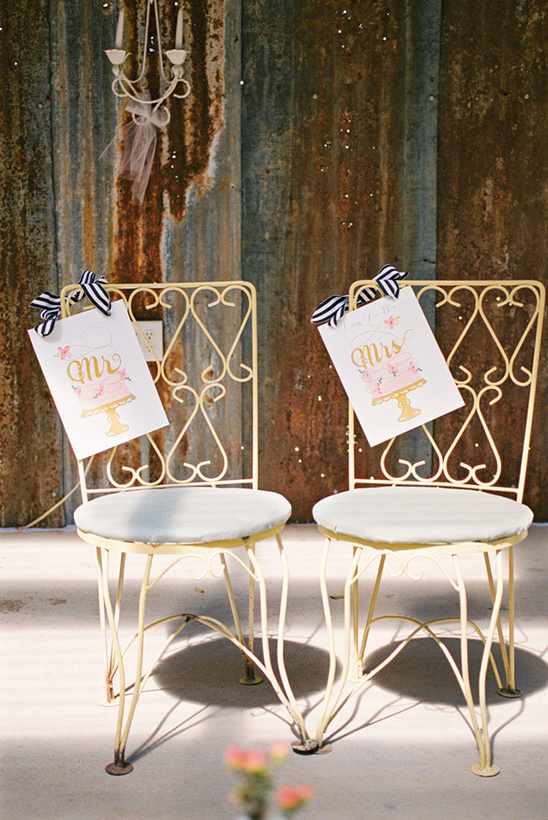 wedding chicks mr and mrs chair signs