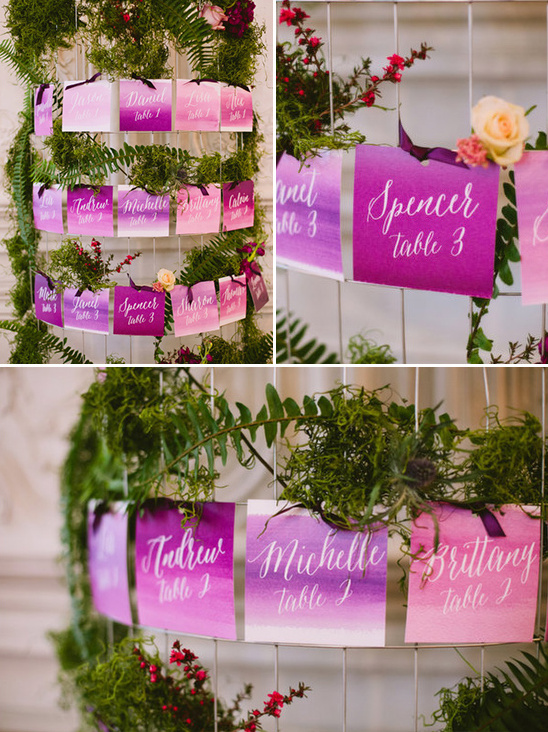 pink and purple escort cards