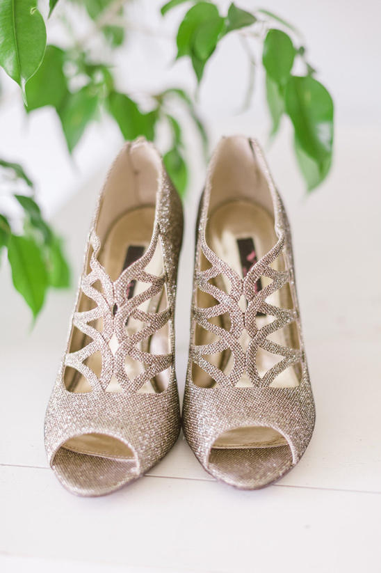 gold sparkling wedding shoes