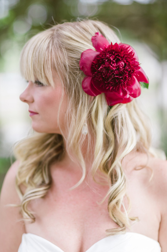 red peony hair accessories