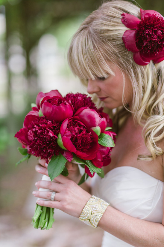deep red peony bouquet