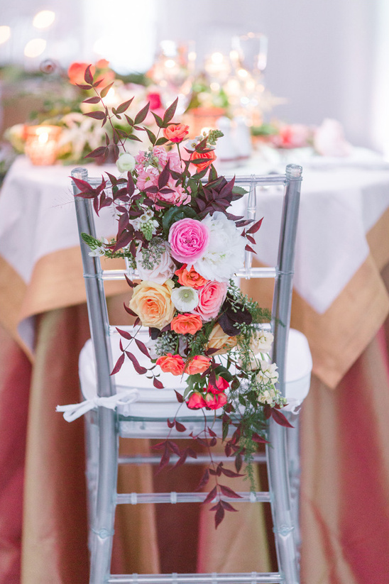 cascading floral seat decor