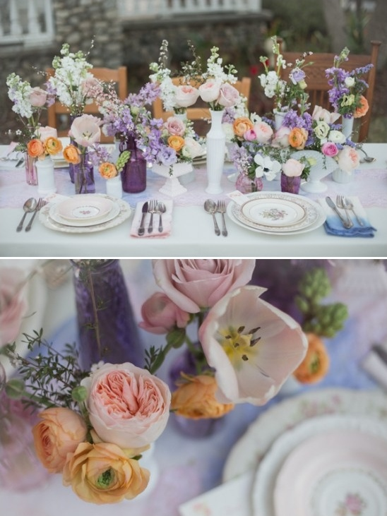 purple, blue, pink, and orange table decor