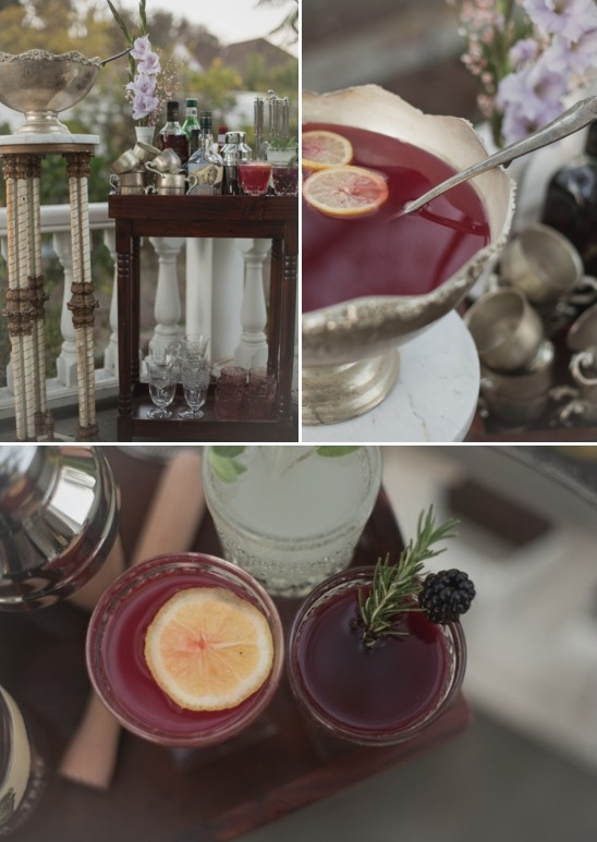 traditional victorian wedding punch bowl and cocktails