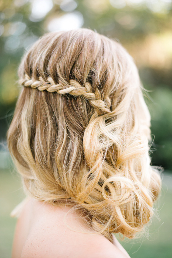 braided and curled cascade wedding hairstyle