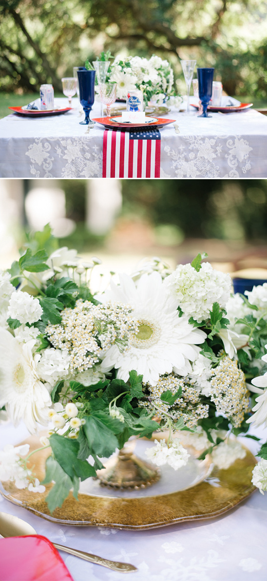 fresh white centerpieces