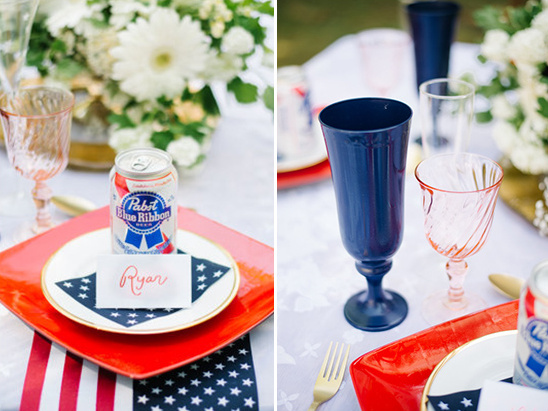 red white and blue place setting