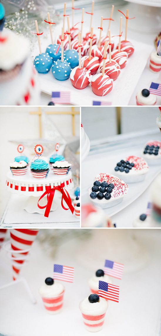 red white and blue wedding desserts