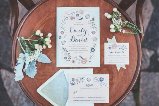 blush and navy wedding stationery
