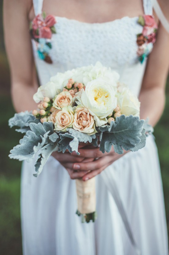 peach and light yellow bouquet