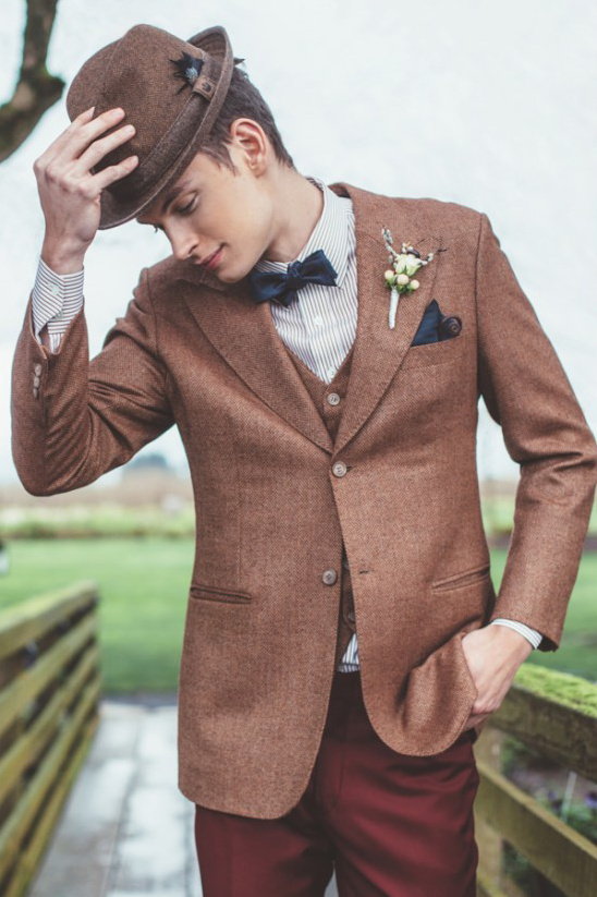 vintage brown grooms attire