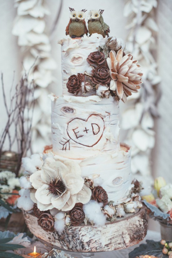 aspen tree cake with rustic decor