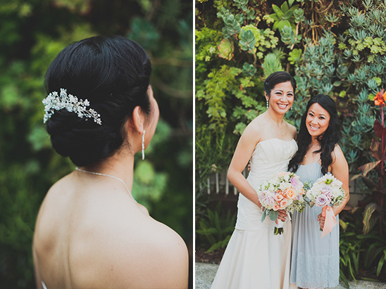 elegant wedding hair and comb