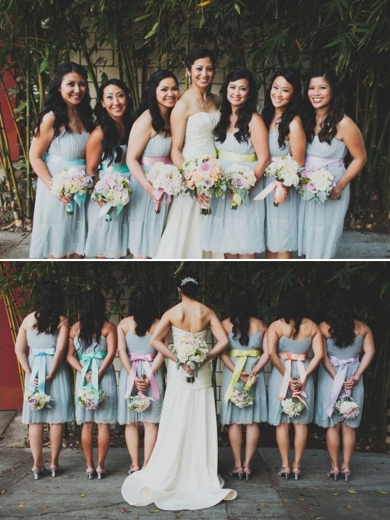 simple grey bridesmaid dresses with rainbowsashes