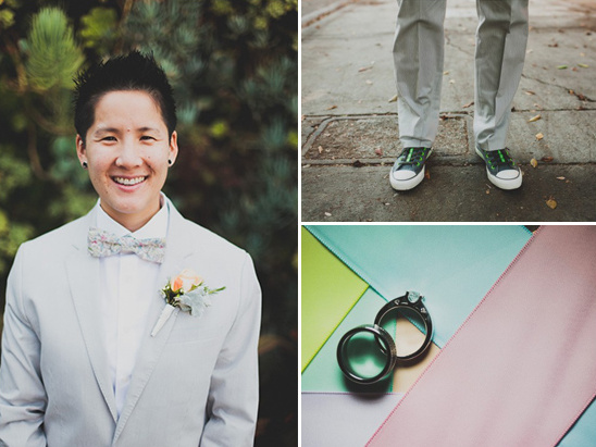 grey suit converse and bow tie wedding look