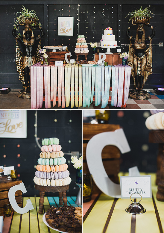 rainbow streamer drapped cake table