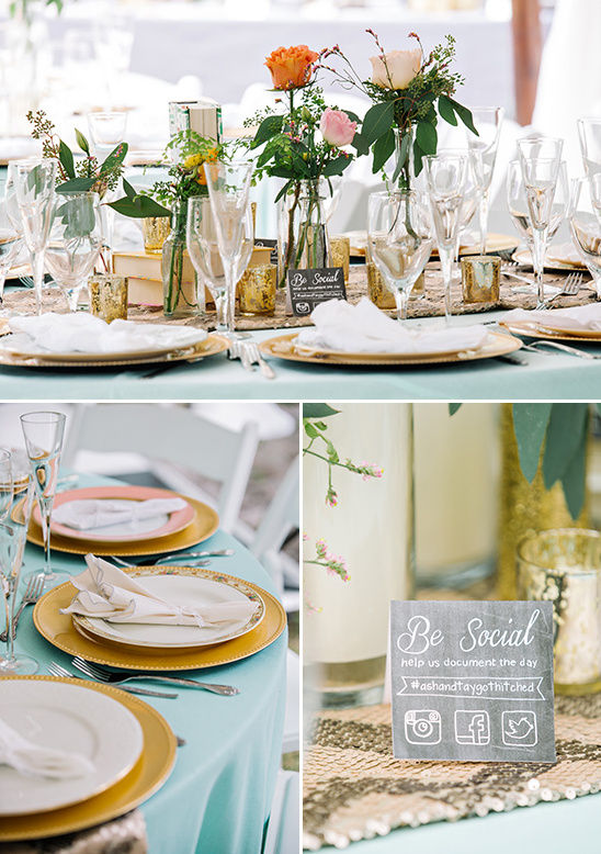 mint table cloths with gold decor
