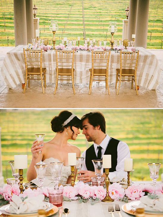 romantic pink and gold reception idea
