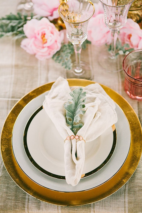 gold and white table settings