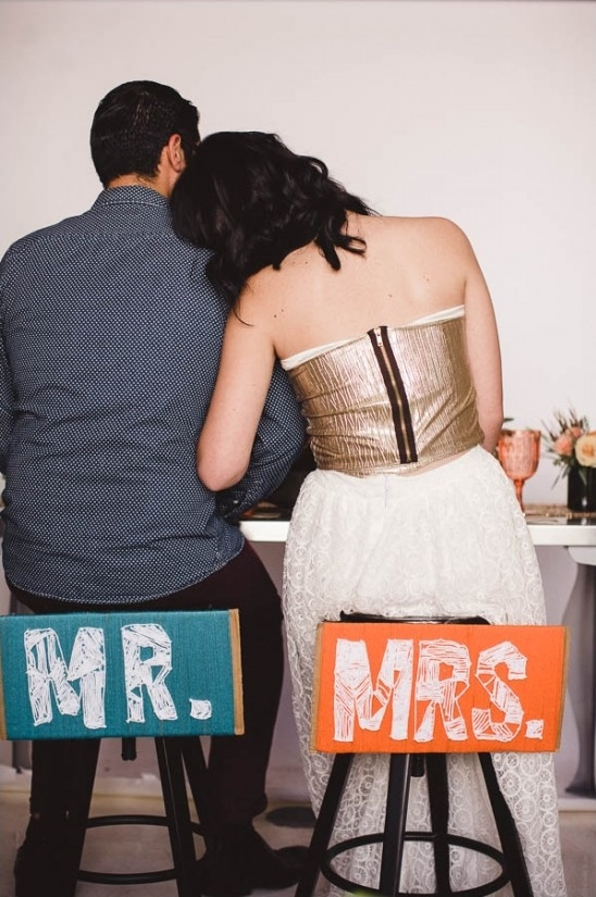 DIY mr and mrs signs