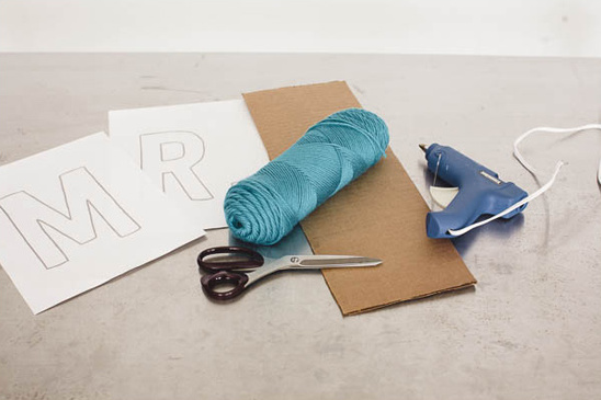 yarn and cardboard sign supplies