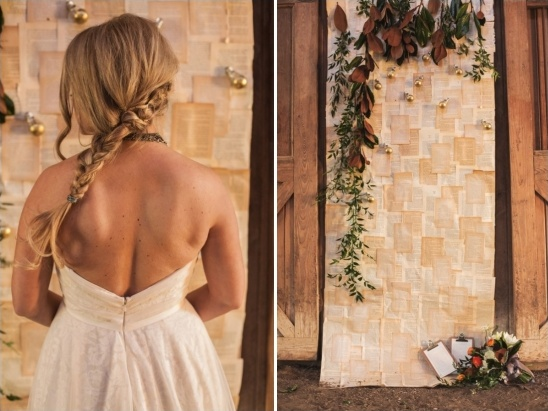 backless wedding dress and ceremony backdrop