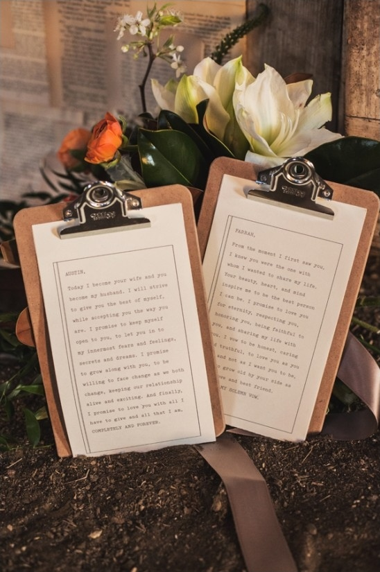 wedding vows on clipboards