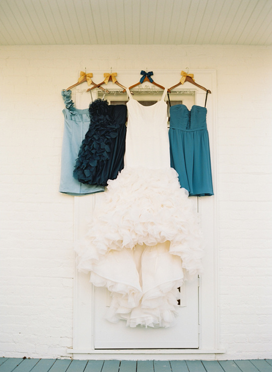 ombre blue bridesmaids dresses