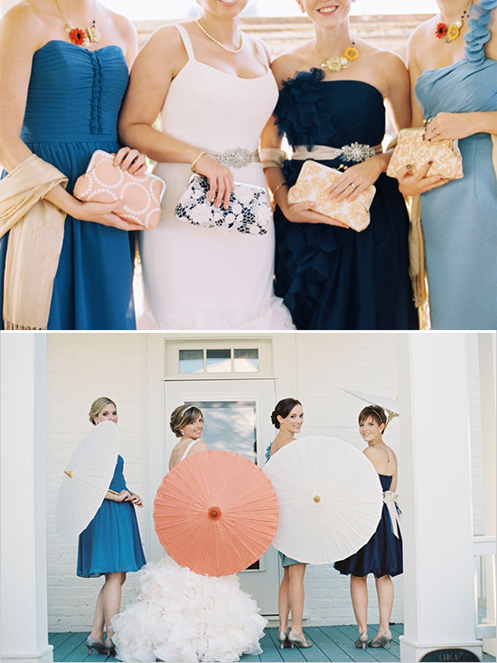 bridesmaids clutches and umbrellas