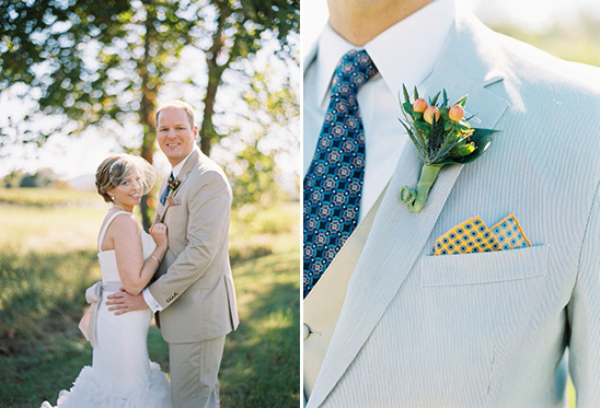 groomsmen boutonniere and handkerchief