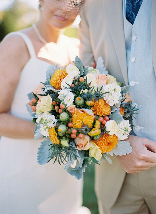 white blush and golden orange bouquet