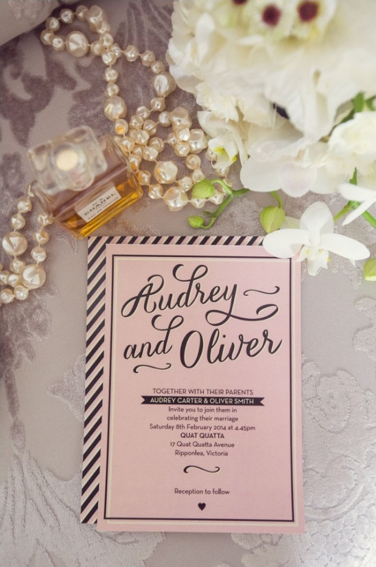 pink black and white wedding invite