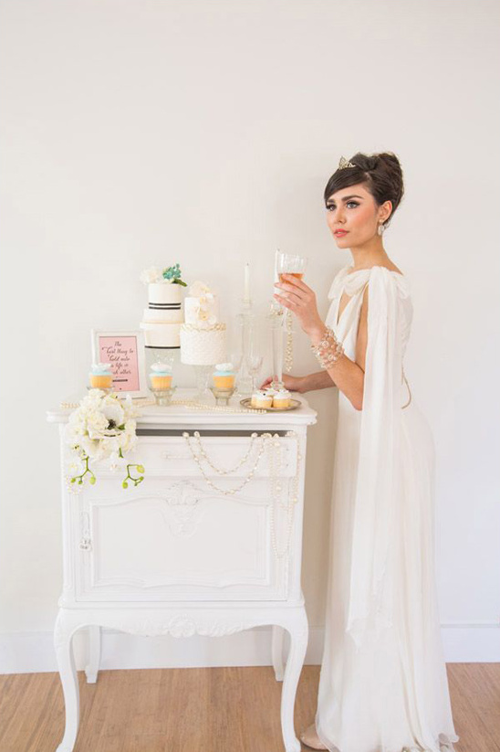 audrey inspired wedding cake table