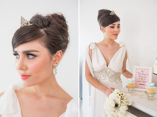 glam up your wedding look with a mini tiara and vintage beading