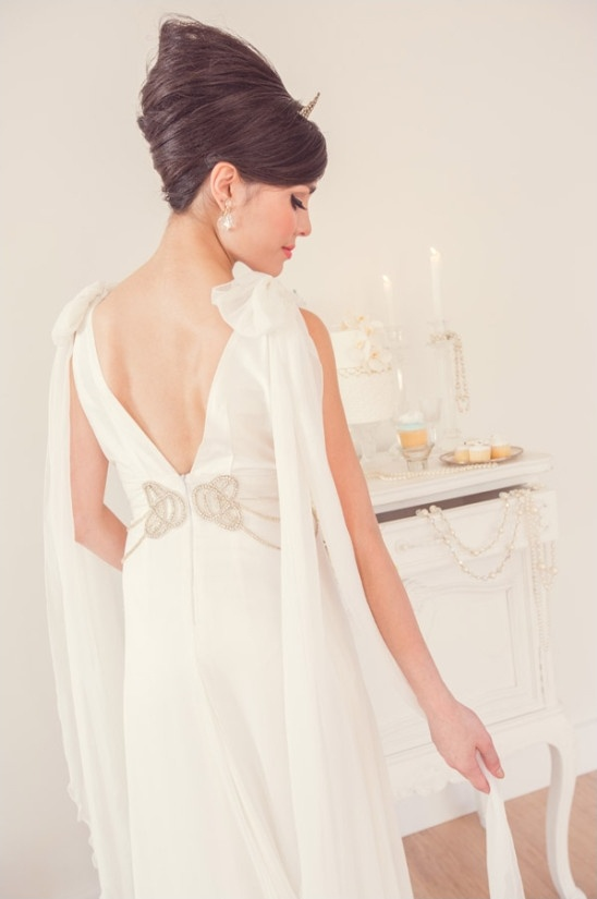 french twist hair and vintage wedding gown