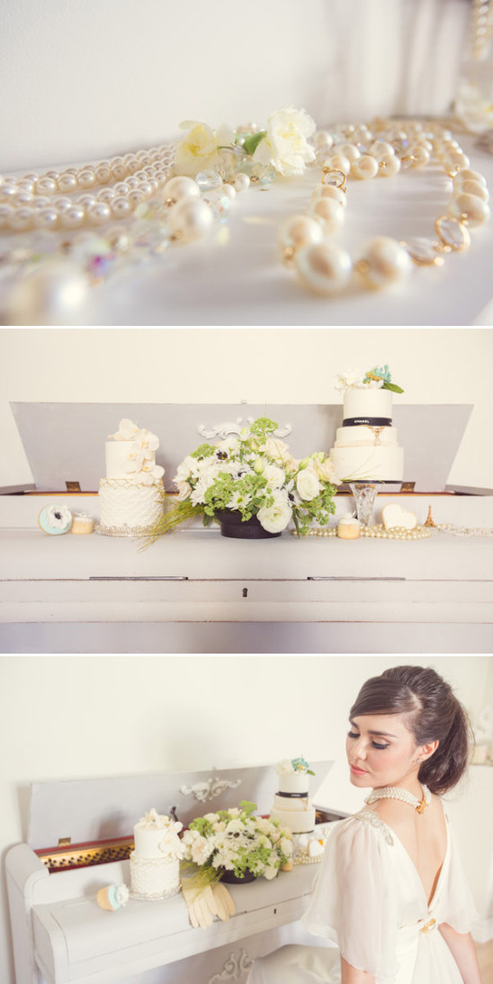 pearl drapped piano and cake display