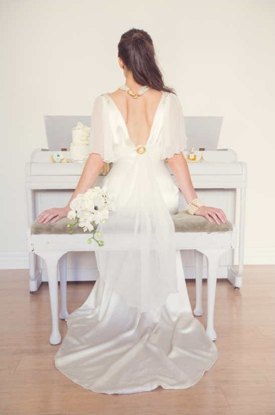 dramatic swooping back vintage wedding dress