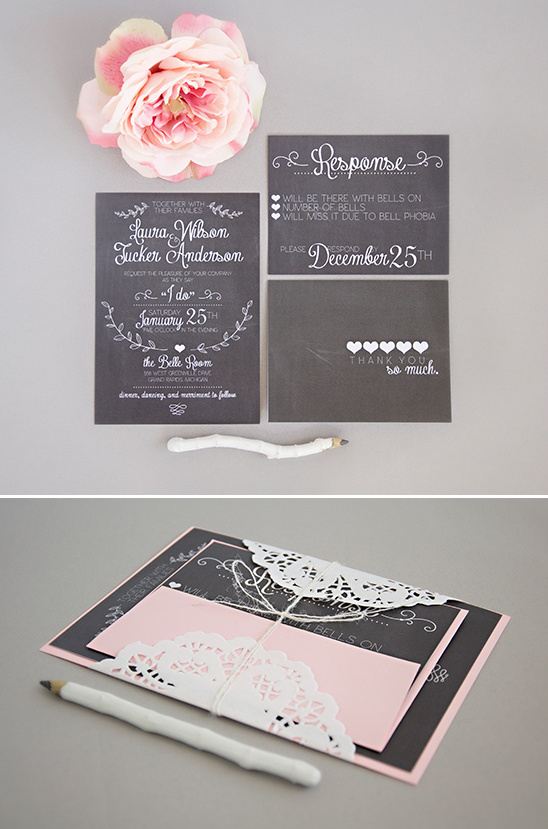 chalk board wedding invites