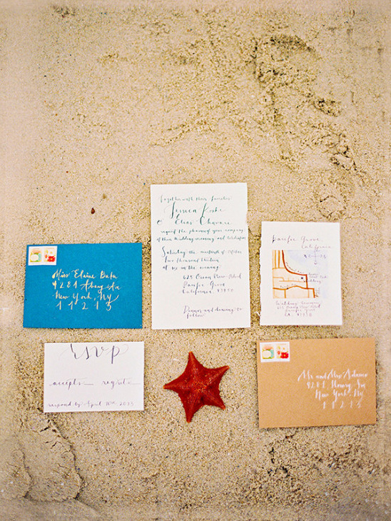 beach inspired wedding invites by coco tran