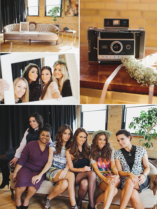classy photobooth with a vintage polaroid camera